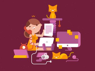 Work Overload chaos hard work yarn coffee phone girl cat waldek toptal vector