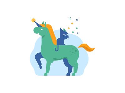 A Cat on a Unicorn life waldek unicorn horse cat vector