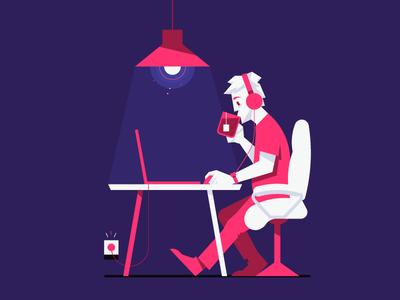 Working tea character pink waldek illustration illustrator vector