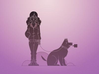 Walking the Dog dog purple ai waldek illustrator illustration pink vector character
