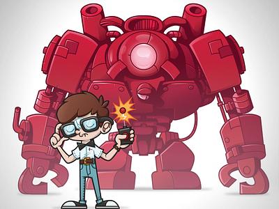 say hello to my little friend vector illustration robot nerd