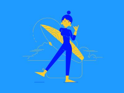 Summer Vibes personal characterdesign character summer surfing vector girl illustrator illustraion