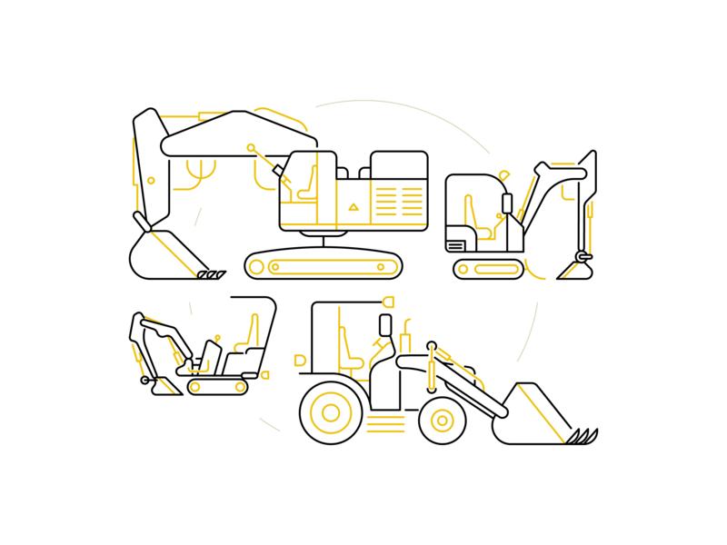 Excavators vector illustration illustrator excavator