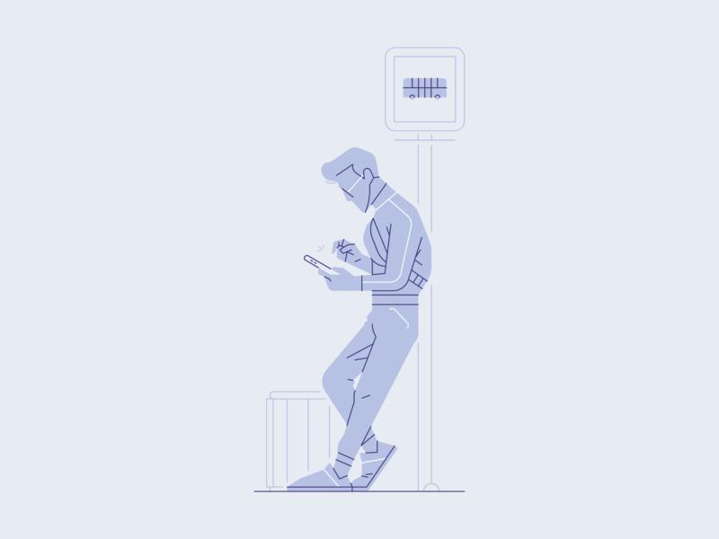 Browsing While Waiting bus character illustrator illustration