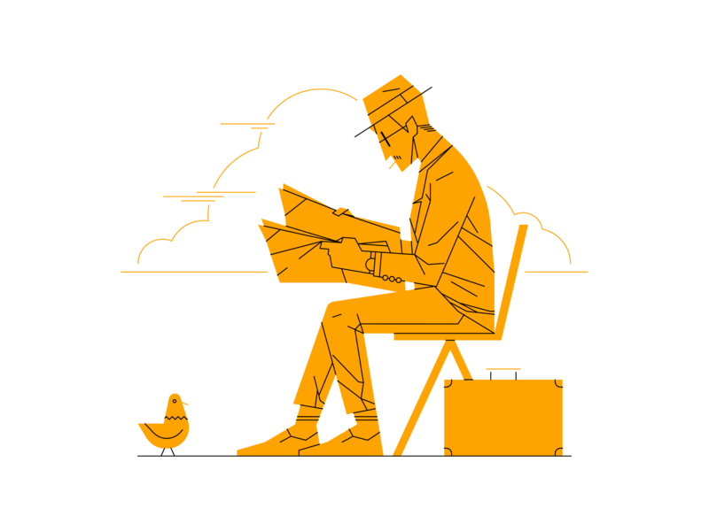 Meeting in the Park characterdesign character newspaper bird illustration illustrator