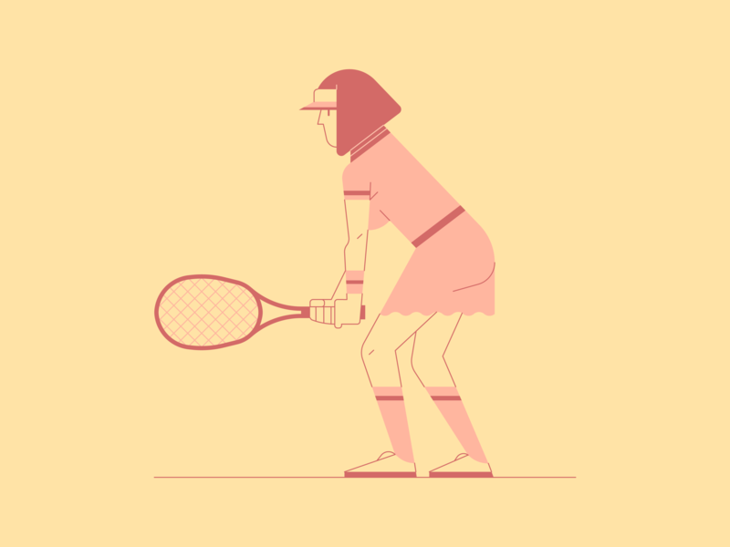 Tennis Player character line lineart sport tennis vector illustration