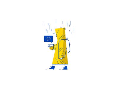 It's Raining vector illustration app raincoat rain