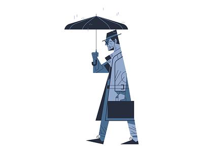 Raining flat outline illustrator illustration briefcase hat coat vector umbrella rain