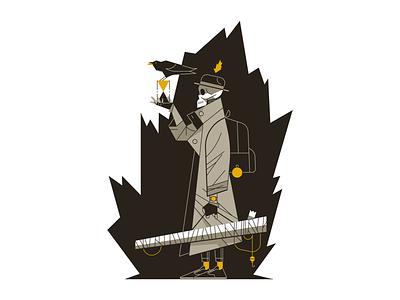 Skeleton Man outline illustration illustrator crow fun dark skull skeleton