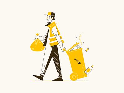 Garbage Man flat outline work garbage illustrator illustration art illustrations