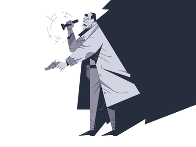 Detective flat outline closed case police coat flashlight illustrator gun illustration