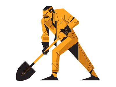 Man With Shovel draft paper pencil drawing hand sketch gardening outline flat character geometric tie shovel man vector