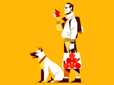 Man with Apple and Dog character animal fruit drawing paper pencil sketch vector flat outline illustration illustrator groceries apple dog