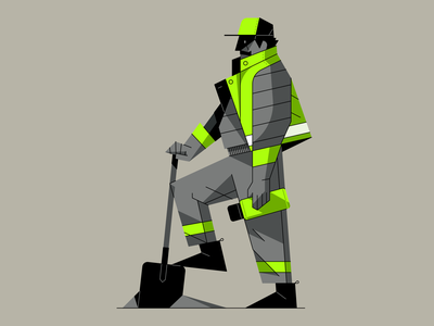 Working Man coffee work boots hat jacket yellowjacket shovel outline flat illustrator character vector illustration