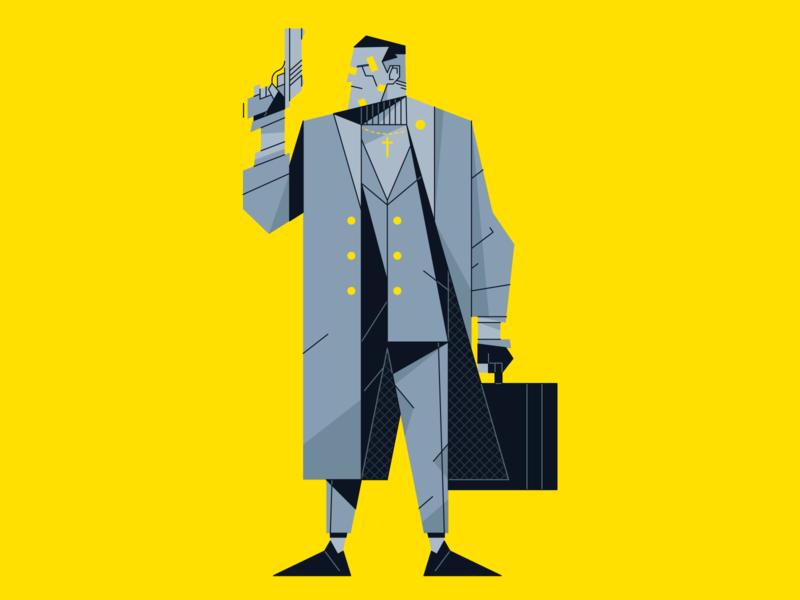 Assassin gun design outline flat illustrator icon character illustration vector assassin