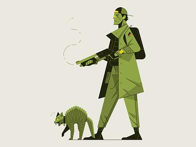 Man and His Cat, or Cat and His Man airpods shotgun gun cat outline flat illustrator waldek character vector illustration