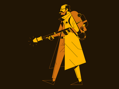 Man with Flamethrower graczyk design outline flat illustrator waldek character vector illustration flamethrower