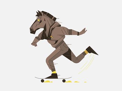 Horse on a Skateboard design outline illustrator character vector illustration skate skateboard horse