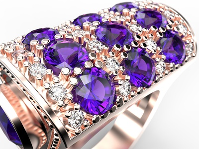 Amethyst gem fashion jewelery jewel 3d product design modeling rendering parametric