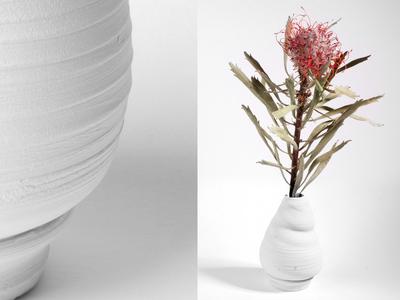 Raw white ceramic plant pot