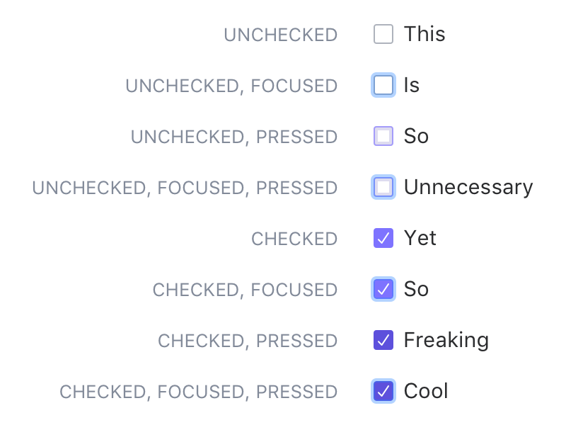 Checkboxes pressed focused focus pilot-x pilot san-francisco toggle control selected unselected checkbox