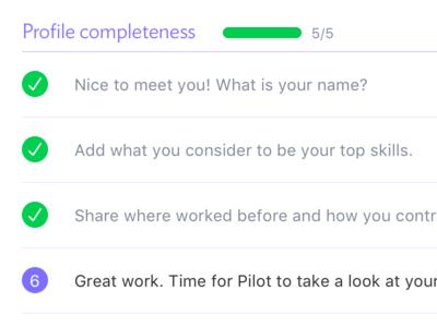 Profile completeness checklist