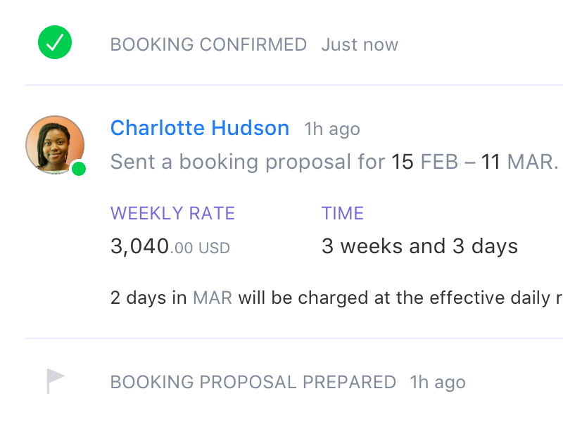 Booking Proposal confirmation san-francisco pilot-x pilot feed event status offer proposal booking