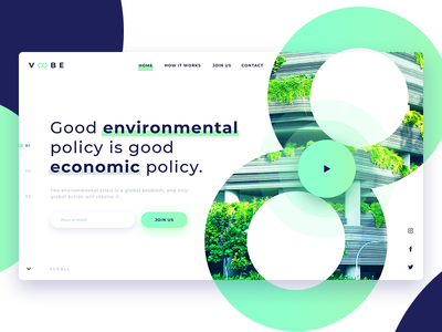 Green Voobe Landing Page modern environment planet blue decom ux page ui landing green