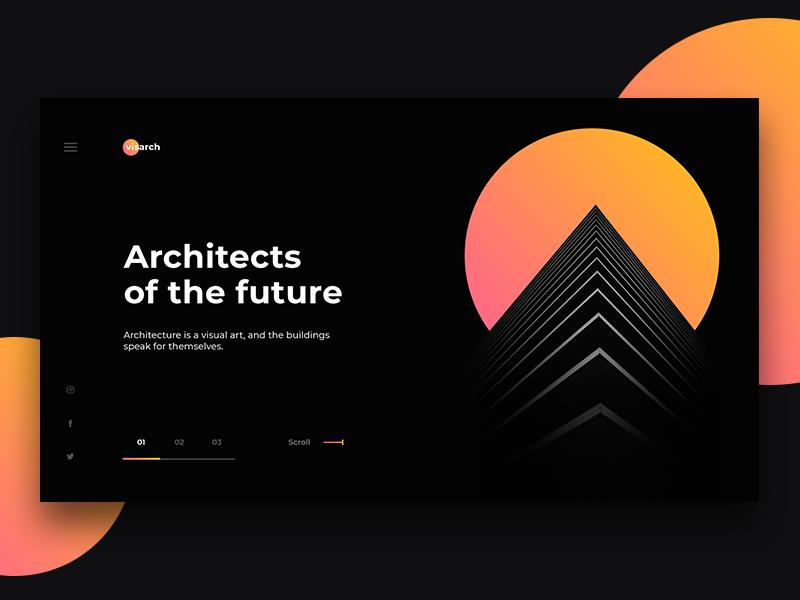 Visarch Architecture Page landing page modern building black orange decom ux ui architecture