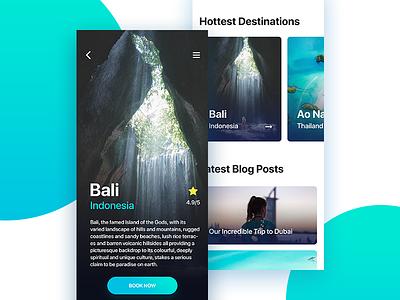 Travel App Booking traveling ux ui booking green blue bali travel decom cyan