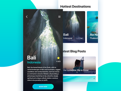 Travel App Booking traveling ux ui booking green blue bali travel decom cyan