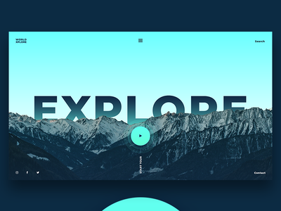 World Explore world decom travel explore cyan blue landing page ui ux