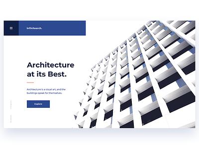 Infinitearch minimal blue decom ux ui page landing showcase building architecture