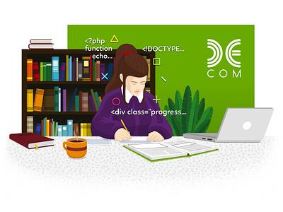 Decom Learning Hub books girl learning ucenje posao office sarajevo illustration