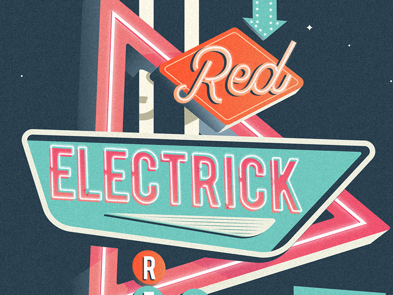 Red Electrick Reborn rockandroll show signage vegas retro illustration