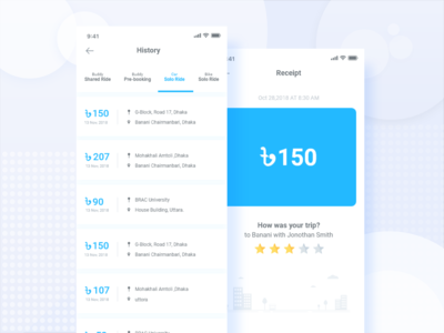 User history and receipt  UI