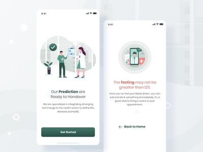 Diabetes medical app UI.