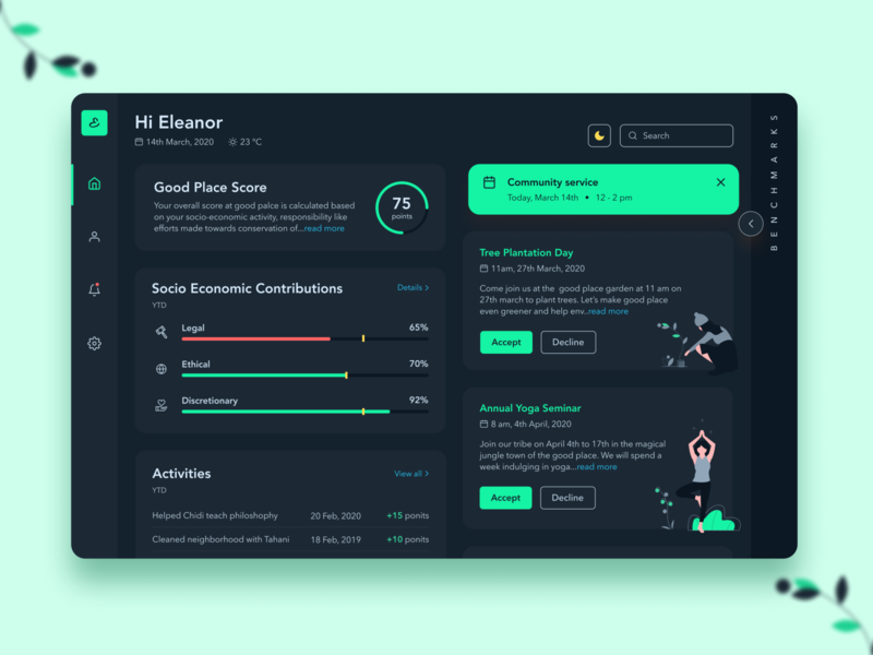 Dark Theme Dashboard - The Good Place benchmark data dark mode dark theme dark dashboad interface user typography branding logo 2020 trend product ux minimal figma illustration concept ui design