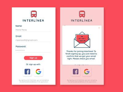 Interlinea Bus Sign Up app mobile up sign line bus design ui