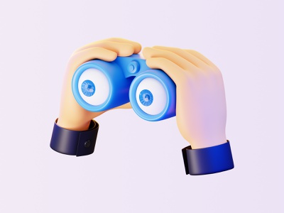 Stavka: See it all 3d ilustration binoculars eyes hands sports watch follow blender 3d blender3d