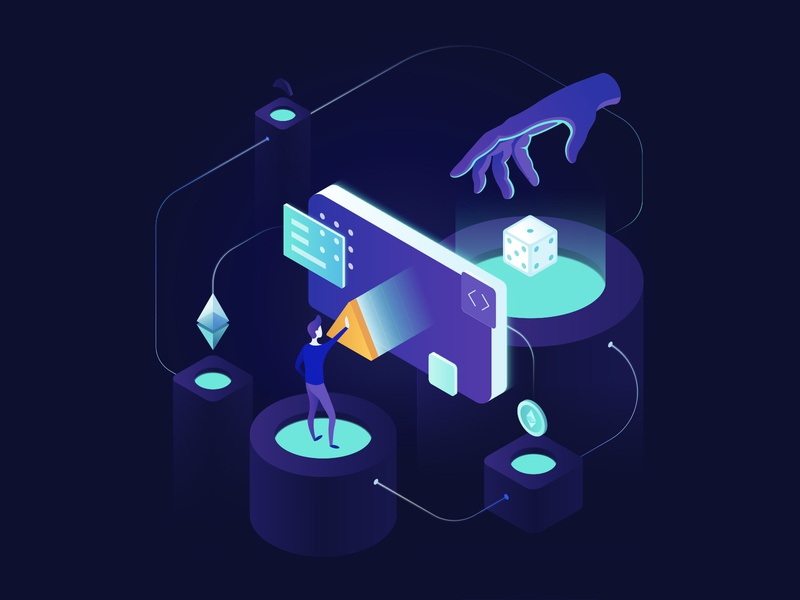 Illustration: Blockchain effect in gambling ios games gambling cryptocurrency bitcoin ethereum developer designer creator 3dillustration isometric blockchain crypto