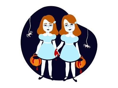 Illustration: Trick or treat with Grady twins sticker illustration flatstudio halloween trick or treat ghosts horror the shining grady twins