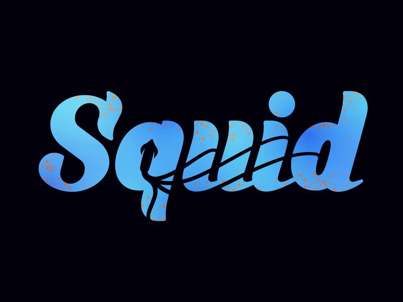 Squid Shot lula italic type caligraphy lettering tentacle tentacles negative space negative space logo squid flatstudio illustration identity logo branding pelagic squid