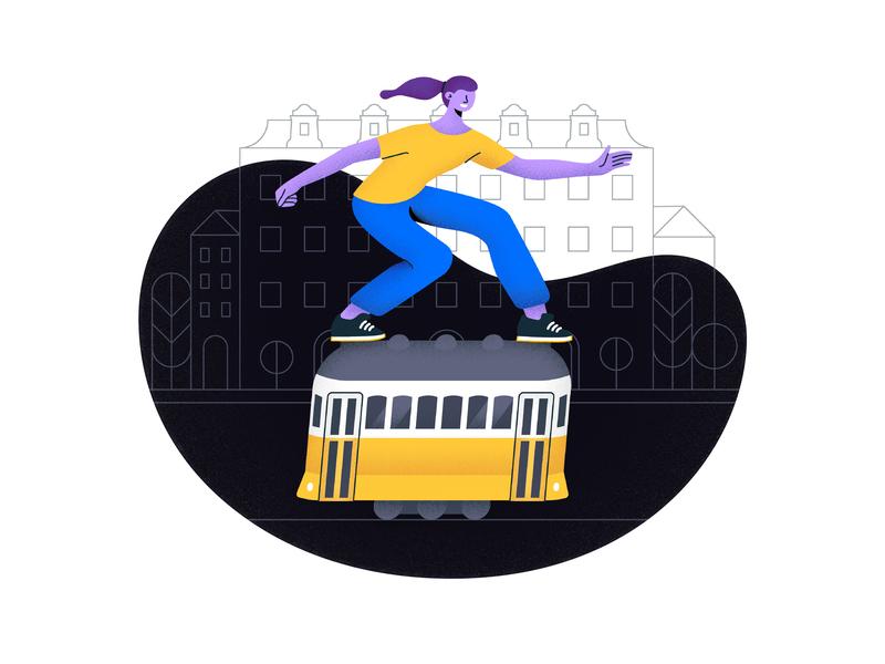 Through Lisbon on 28E: Illustration lisbonsights lisbontour turism lisbonturist turismolisboa aroundlisbon illustration portugal lisboa lisbon electrico 28 tram 28e tram skateboarding grain illustrations blob