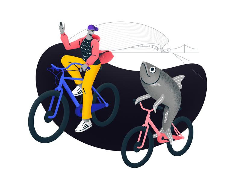 Racing with Sardinha: Illustration bycicle sardines mean sardine turismolisboa tourist tourism portugal lisbonturist lisbontour lisbonsights illustration grain illustrations lisbon lisboa maat blob santos sardinha sardine aroundlisbon