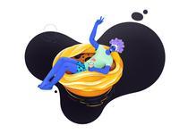 Floating on Pastel de Nata: Illustration