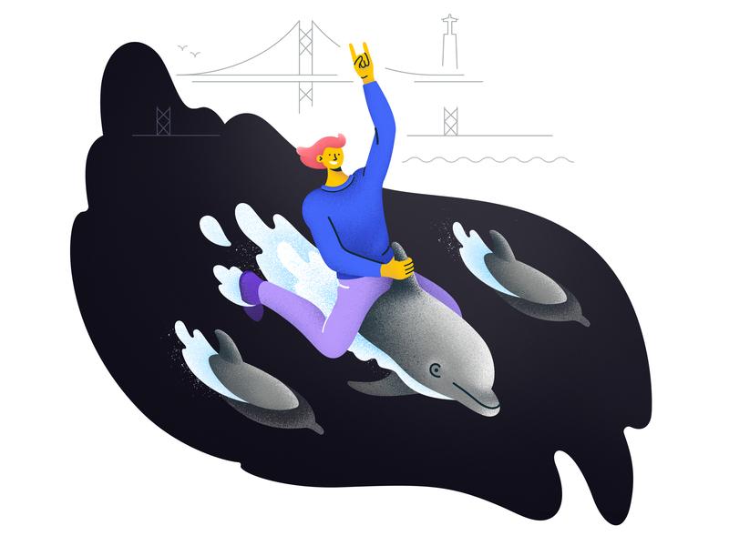 Tejo Dolphin Ride: Illustration aroundlisbon blob dolphin dolphin ride grain illustrations illustration lisboa lisbon lisbonsights lisbontour lisbontourist 25 de abril cristo rei portugal tourism tourist turismolisboa tejo river tejo extreme sports