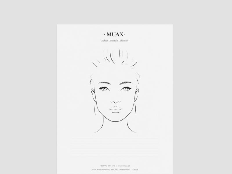 MUAX: Face Chart logo illustration portrait makeup artist face chart branding studio branding agency branding