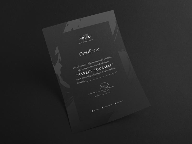 MUAX: Completion certificate portugal makeup artist design agency branding agency black statitonery identity logo branding certificate completion certificate