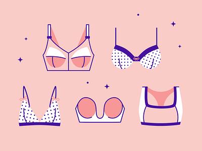 Bra Demographics strapless bralette polkadot fashion 2d art line illustration sportsbra underwear bra brassiere